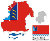 outline map of Magadan Oblast with flag