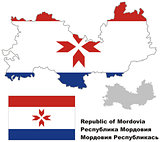 outline map of Mordovia with flag