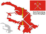outline map of St. Petersburg with flag