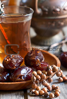 Arabic tea, rosary and dates