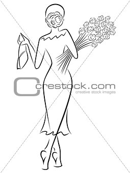 Lady with a bouquet of roses goes away