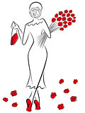 Lady with a bouquet of red roses goes away