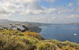 landscape and coast on greek island santorini