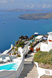 terraces on greek island santorini