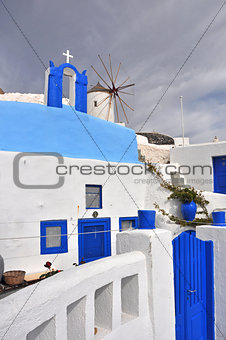 classical greek architecture - blue and white