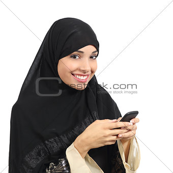 Arab saudi emirates smiling woman using a smart phone