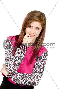 standing fashion portrait of young beautiful girl