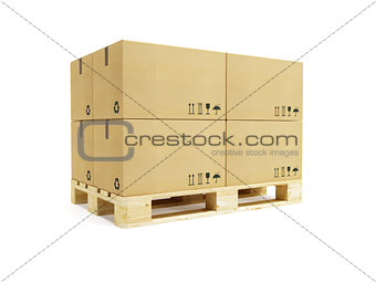 pallet with cardboard boxes