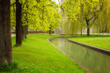 Munich's park with river at spring