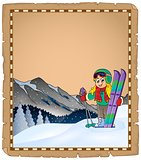 Parchment with winter sport theme 1