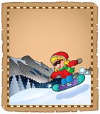 Parchment with winter sport theme 2