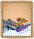 Parchment with winter sport theme 3