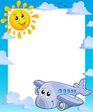 Summer frame with sun and airplane