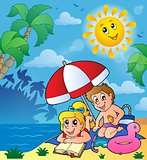 Summer theme with children on beach