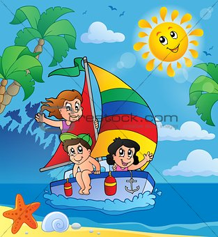 Summer theme with children on ship