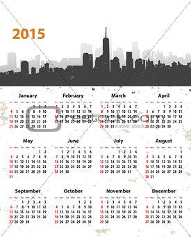 2015 year stylish calendar on cityscape grunge background