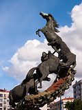 Horses sculpture in Spain Square in Vigo