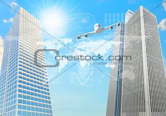 Airplane with background of skyscrapers and arrows