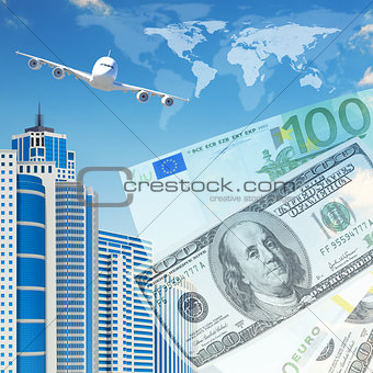 Airplane with background of skyscrapers and money