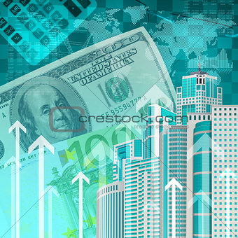 Skyscrapers with background of money and arrows