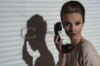 charming girl talking on phone