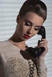 girl with vintage phone