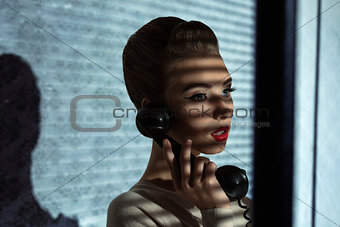 fashion girl with retro receiver