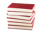 Stack of six red books
