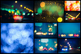 Photo Of Bokeh Lights / Street Lights Out Of Focus. Set, collage