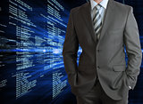 Businessman with background of digital code
