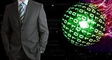 Businessman in a suit. Spheres of glowing digits