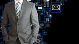 Man in suit and application icons