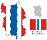 outline map of Omsk Oblast with flag