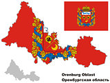 outline map of Orenburg Oblast with flag