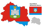 outline map of Oryol Oblast with flag