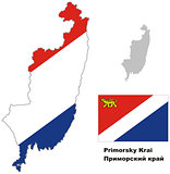 outline map of Primorsky Krai with flag