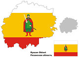 outline map of Ryazan Oblast with flag