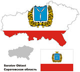 outline map of Saratov Oblast with flag