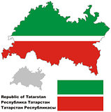 outline map of Tatarstan with flag