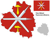 outline map of Tula Oblast with flag