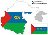 outline map of Tyumen Oblast with flag