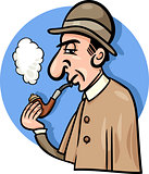 detective with pipe cartoon illustration