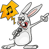 bunny singing rock cartoon illustration