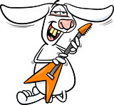 bunny playing guitar cartoon illustration