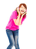young woman listening to music and happy to singing