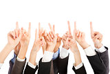 group of business people hands point upward together