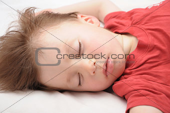 White caucasian European kid sleeping 3 years old