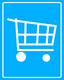white shopping cart icon to the wheels