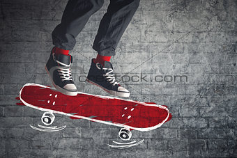 Skateboarder jumping on sketched board