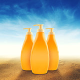 Bottles of Sunbath oil or sunscreen